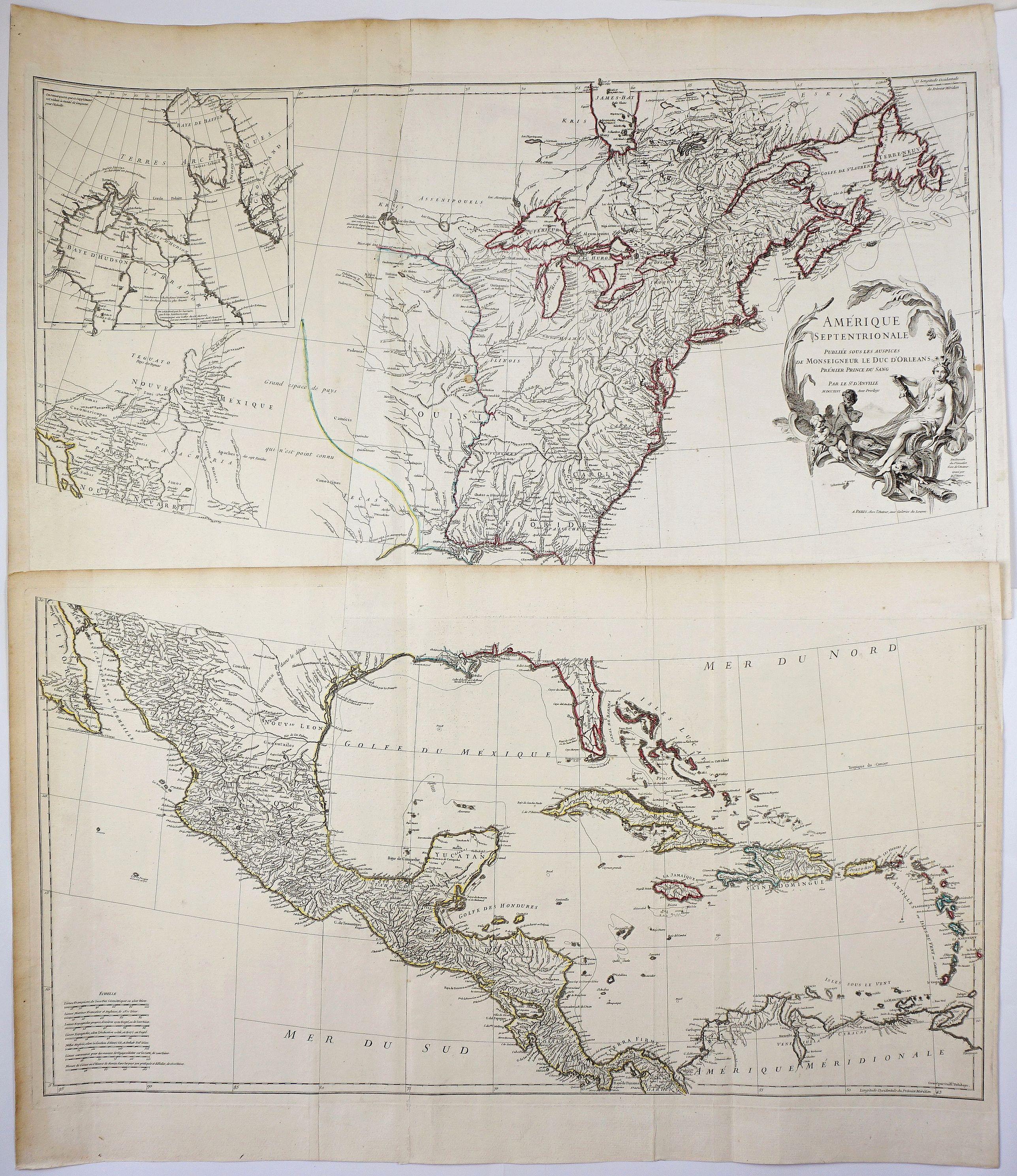 D'ANVILLE, J.B.D'. - Amerique Septentrionale Publiee sous les Auspices de Monseigneur le Duc d'Orleans Premier Prince du Sang. . .