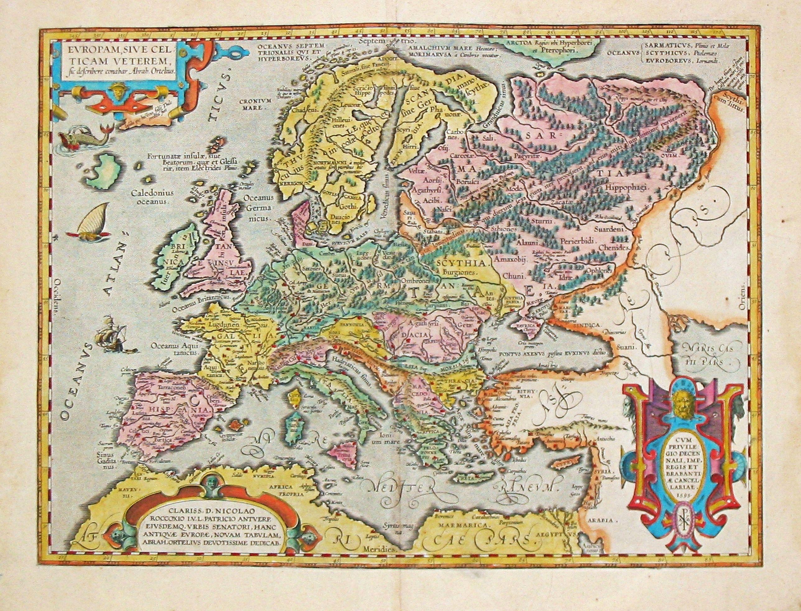 Ortelius, Abraham.  - [Antique  map of Europe] Europam, sive Celticam Veterem.