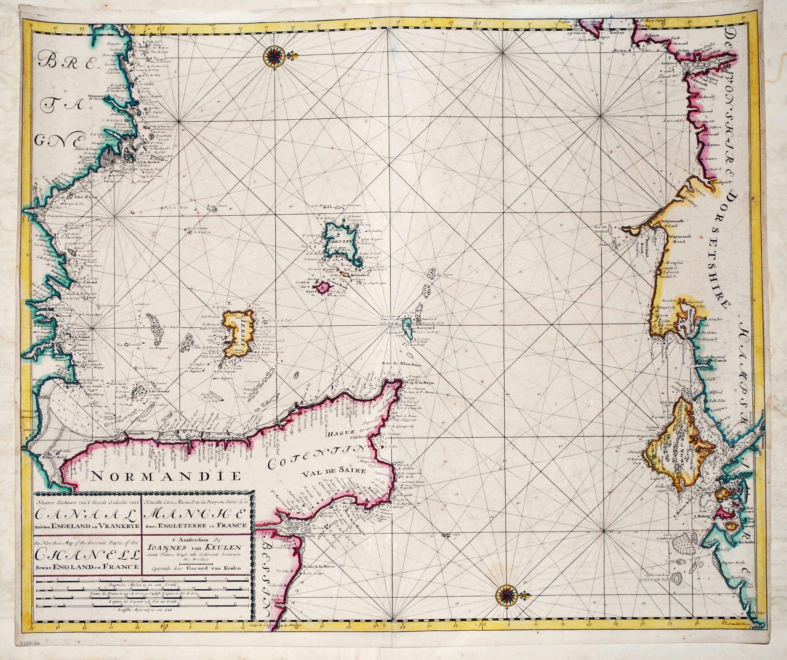 KEULEN, J. van. - Nieuwe Zeekaart van het Tweede gedeelte van het Canaal Tusschen Engeland en Vrankryk. / ...Chanell betwext England and France.