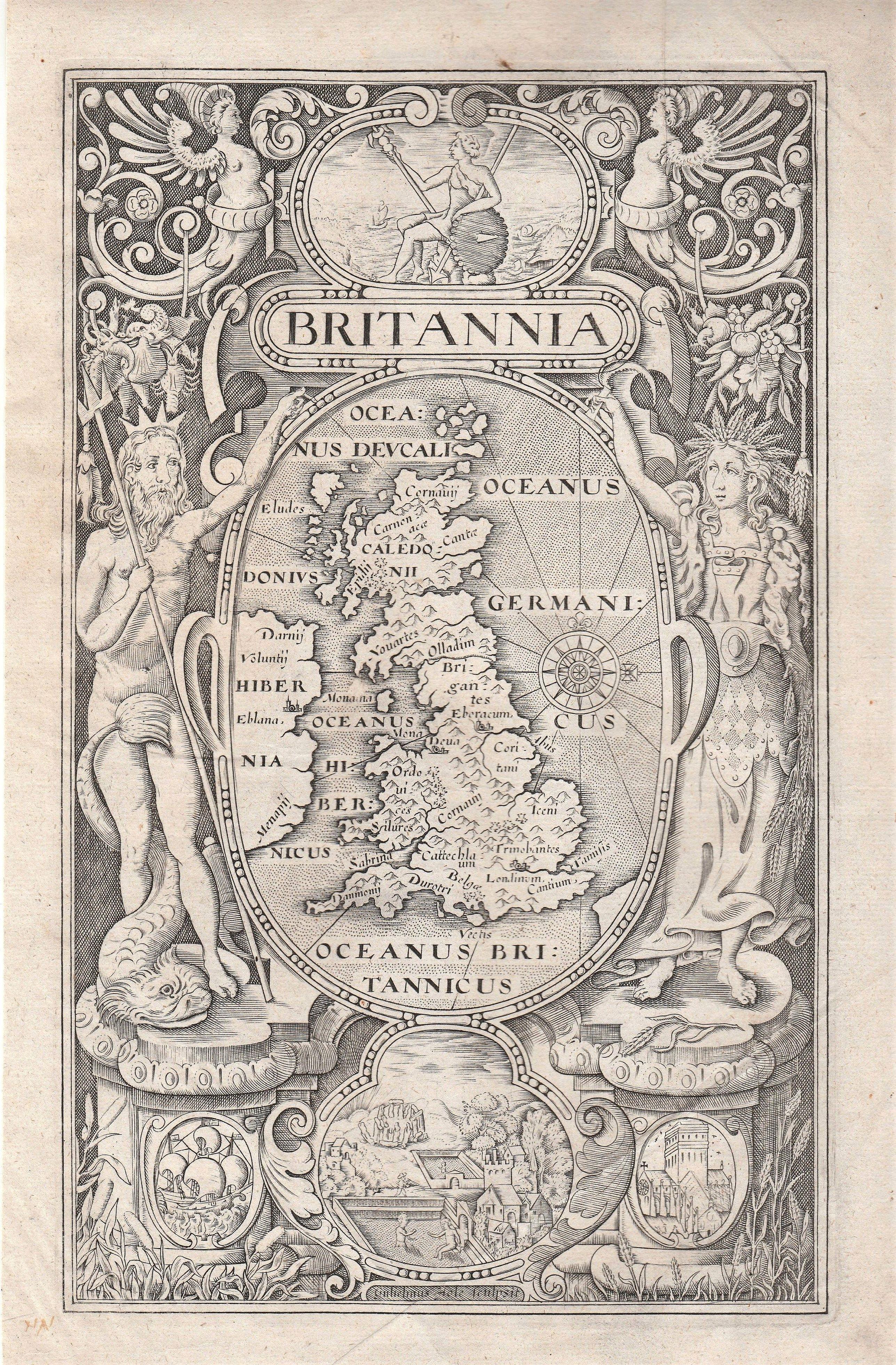 HOLE, William / - CAMDEN, William  - 'Britannia' Frontispiece - William Camden.