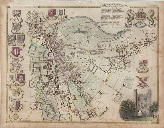 MOULE, Thomas., City and University of Cambridge. , antique map, old maps