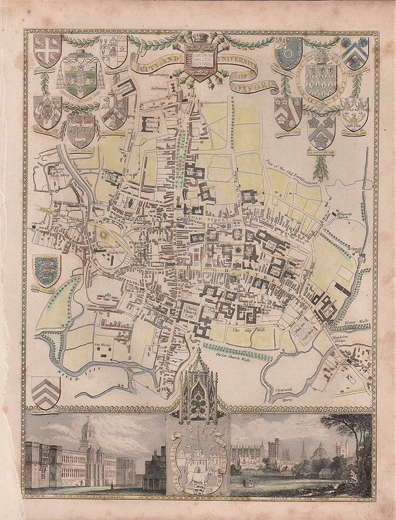 MOULE, Thomas.,  'CITY AND UNIVERSITY OF OXFORD'., antique map, old maps