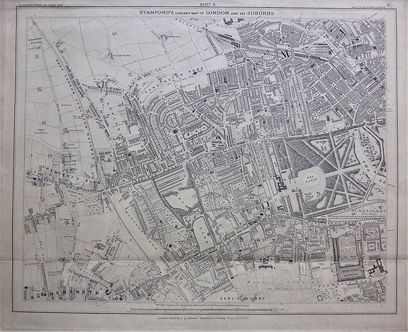 STANFORD, Edward., Stanford's Library Map of London and its Suburbs, sheet 9. , antique map, old maps