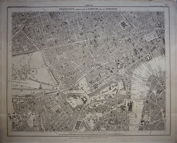 STANFORD, Edward., Stanford's Library Map of London and its Suburbs, sheet 10. , antique map, old maps