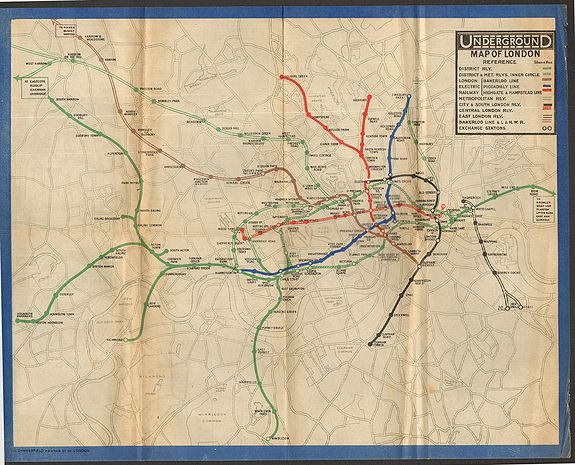 Anonymous., Underground Railway Map of London 1919., antique map, old maps