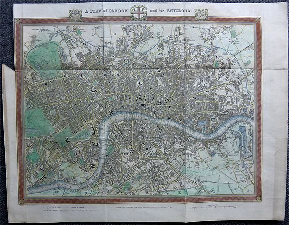 CREIGHTON, Richard.,  A Plan of London and its Environs., antique map, old maps