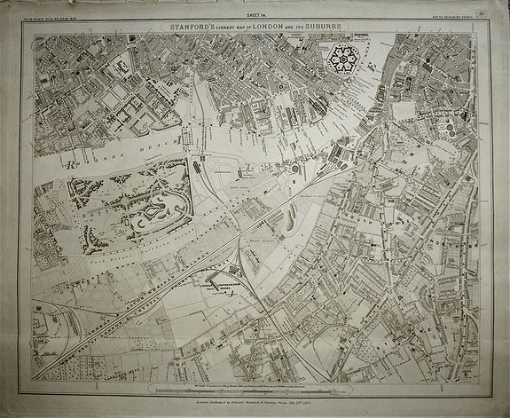 STANFORD, Edward., Stanford's Library Map of London and its Suburbs, sheet 14., antique map, old maps