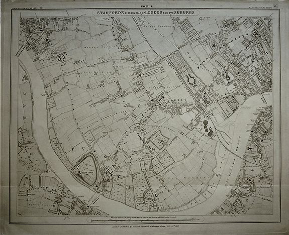 STANFORD, Edward., Stanford's Library Map of London and its Suburbs, sheet 13., antique map, old maps