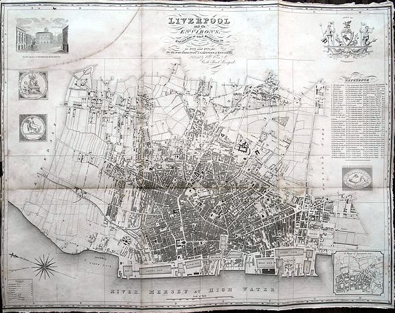 SWIRE, W., Liverpool and its Environs., antique map, old maps