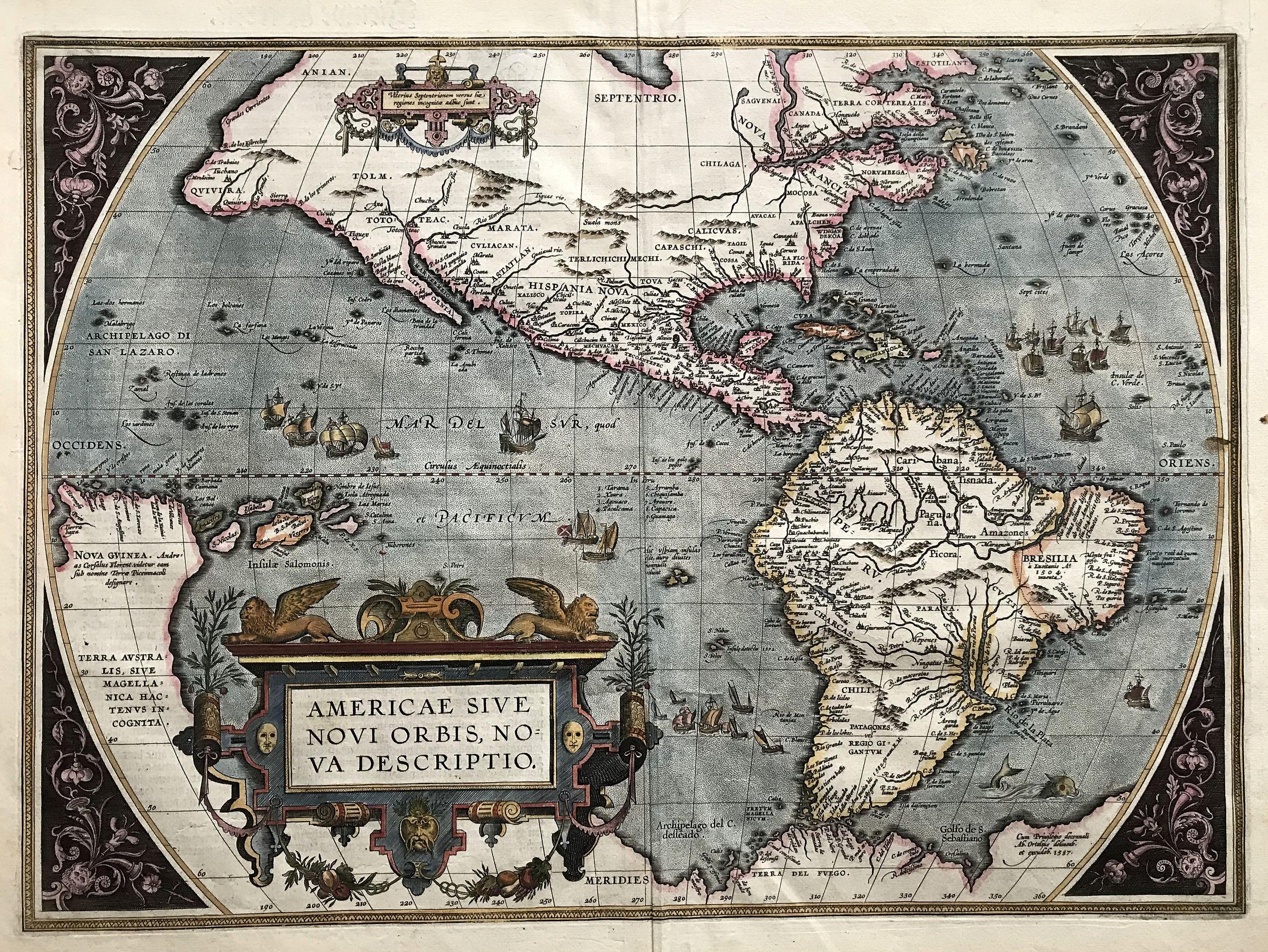 ORTELIUS, A. - Americae sive Novi Orbis Nova Descriptio (Dutch text edition).