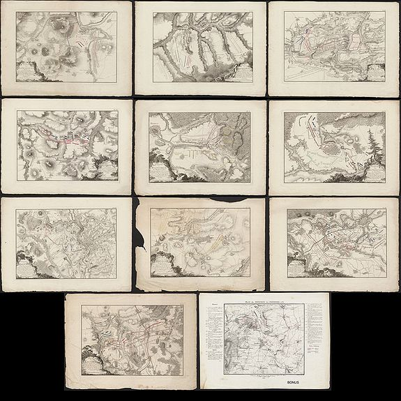 ANONYMOUS. - 10 battle plans of Seven Years War (1756-1763).