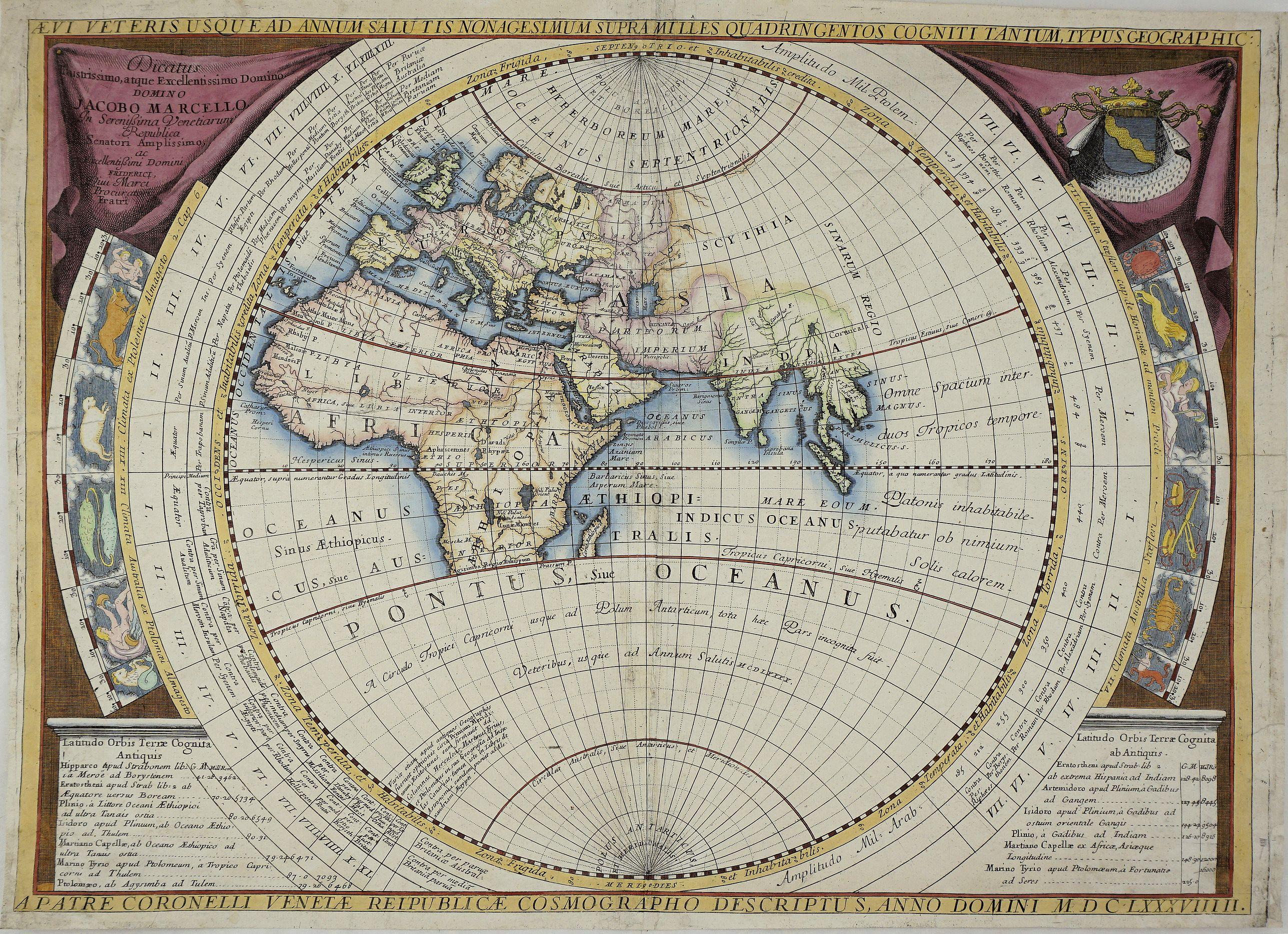 CORONELLI, V. M. - Aevi Veteris Usque Ad Annum Salutis Nonagesimum Supra Milles Quaringentos Cogniti Tantum Typus Geographic: MDCLXXXVIIIII.