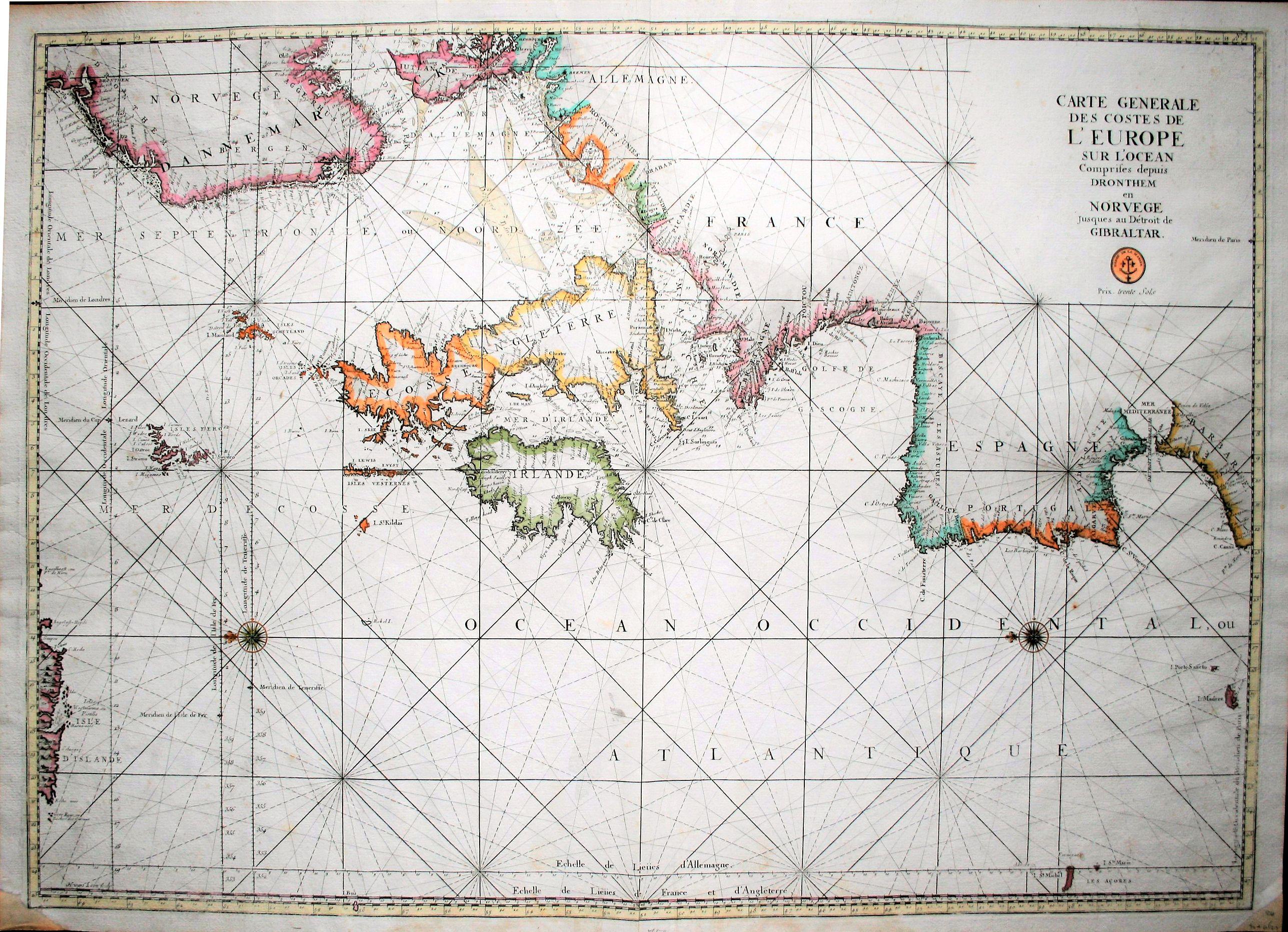 JAILLOT, A.H. - Carte generale des costes de l'Europe sur l'Ocean comprises depuis Dronthem en Norvege jusques au Destroit de Gibraltar.