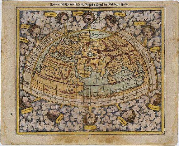 MÜNSTER, S. - Ptolemeisch General Tafel, die Halbe Kugel der Welt Begreiffende.