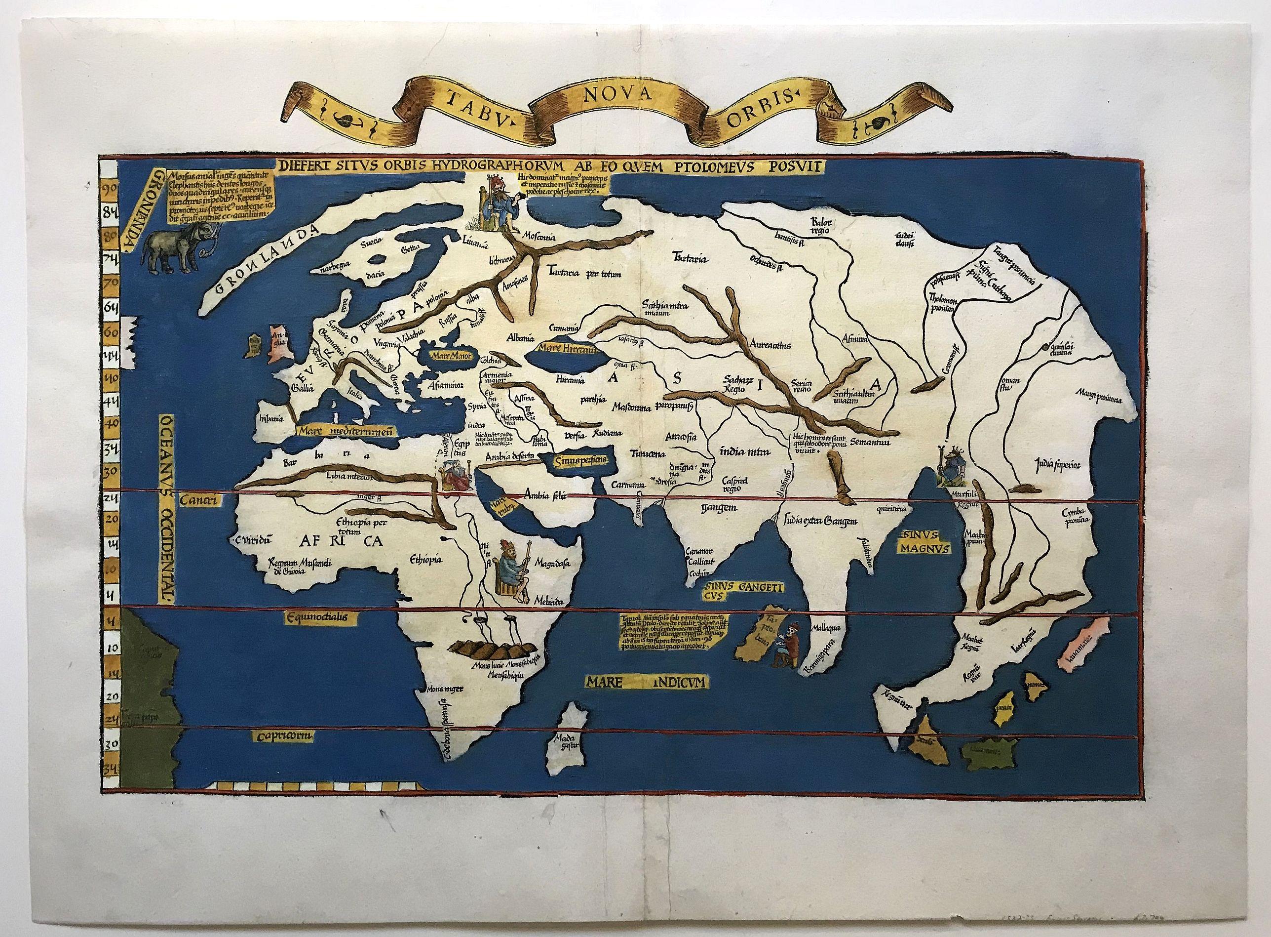 FRIES, L. - Tabu Nova Orbis / Diefert Situs Orbis Hydrographorum Ab Eo Quem Ptolomeus Posuit. . .