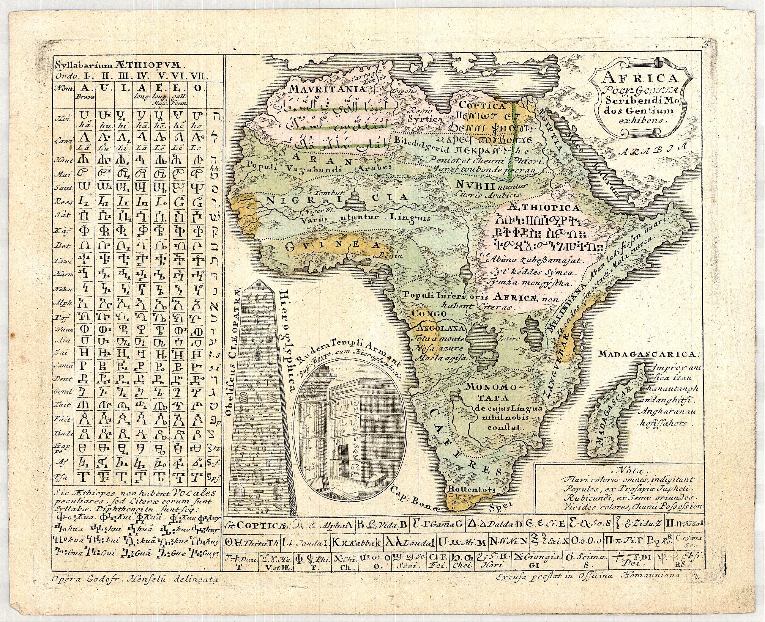 Gottfried Hensel / Homann Heirs, - AFRICA Poly Glotta Scribendi Modos Gentium. . .
