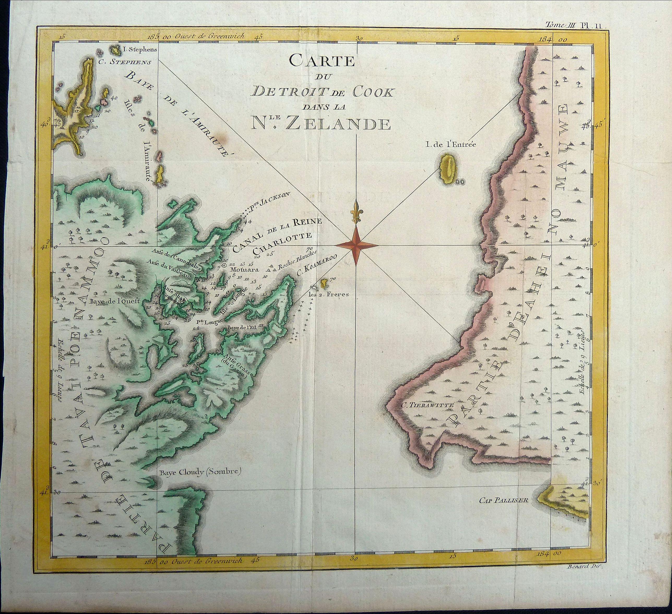 COOK, James. - Carte du Detroit de Cook dans la Nle. Zelande. Tome III Pl. 11.