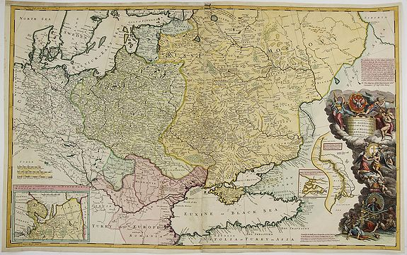 MOLL, H.,  Map of Moscovy, Poland, Little Tartary, and ye Black Sea &c. . ., antique map, old maps