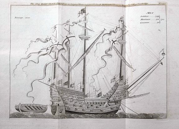 BASIRE, J. - The Ship Harry Grace a Dieu, from an Original Drawing preserved in the Pepysian Library in Magdalen College Cambridge.