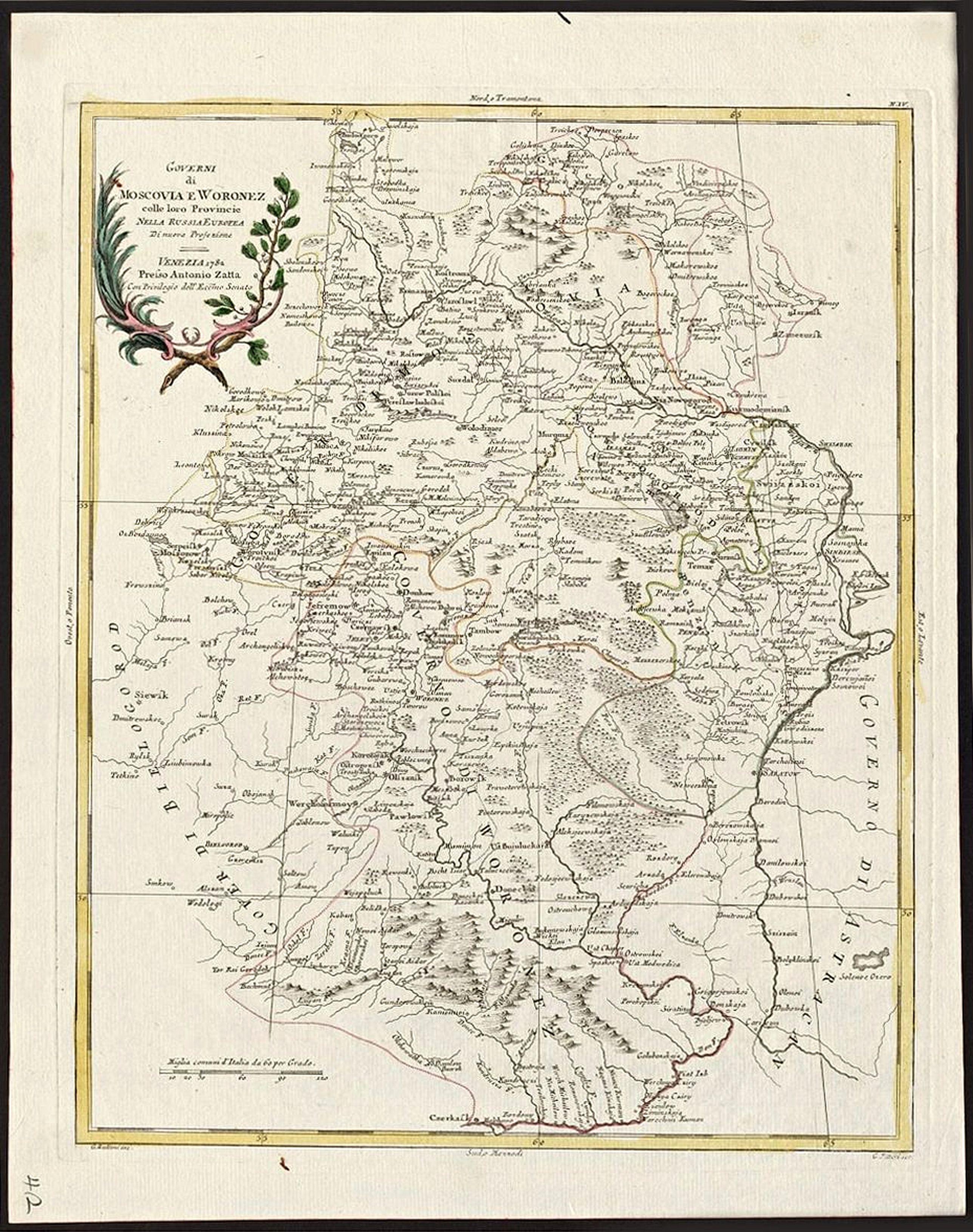 ZATTA, Antonio - Governi di Moscovia E Woronez colle loro Provincie Nella Russia Europae.