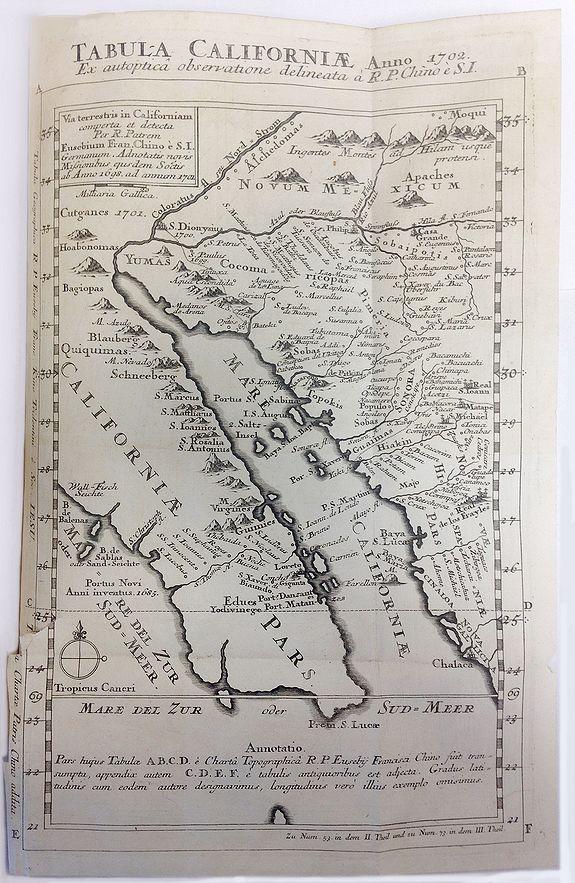 STOCKLEIN, J. - Tabula Californiae Anno 1702 ex Autoptica Observatione Delineata a R.P. Chino e S.I.