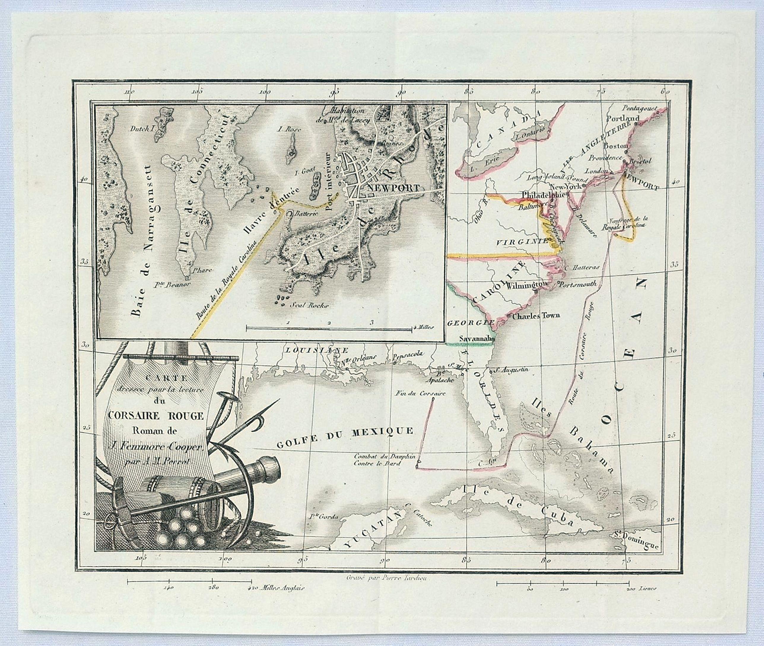 PERROT, A. - Carte Dressee pour la Lecture du Corsaire Rouge Roman de J. Fenimore Cooper.
