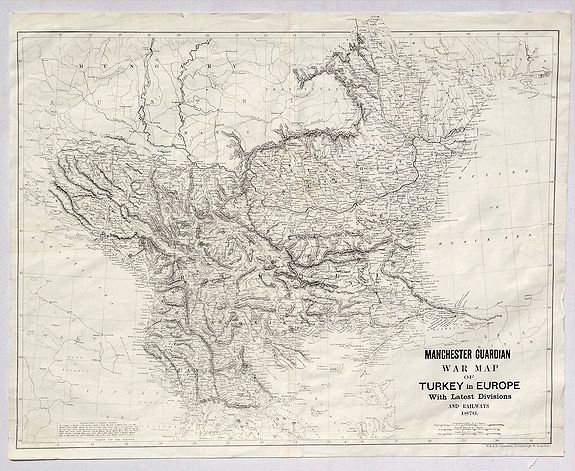 JOHNSTON, W & K. - Manchester Guardian War Map of Turkey in Europe with Latest Divisions and Railways 1876.