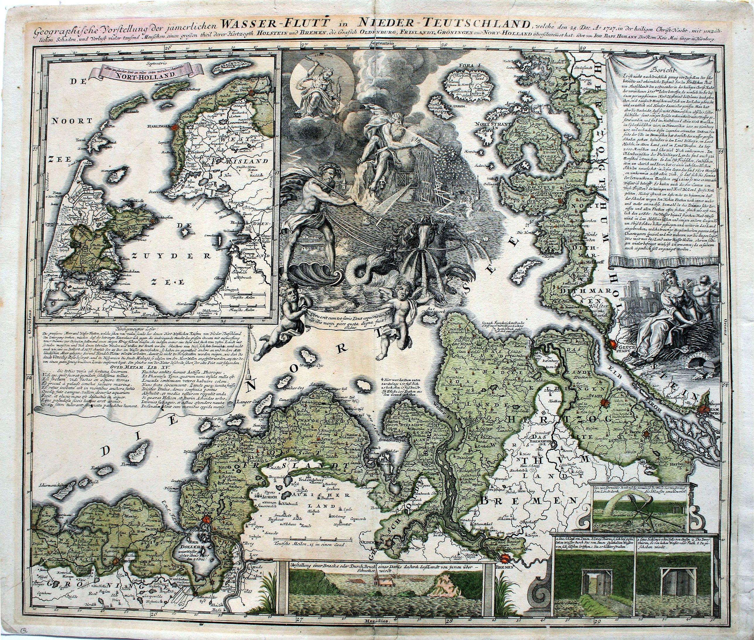 Homann, J. B. - Geographische Vorstellung der jämerlichen Wasser-Flutt in Nieder-Teutschland, welche den 25.Dec.A° 1717,in der heiligen Christ-Nacht . .