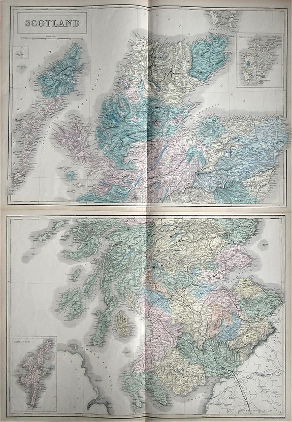 Old map by HALL -Scotland (on two parts)