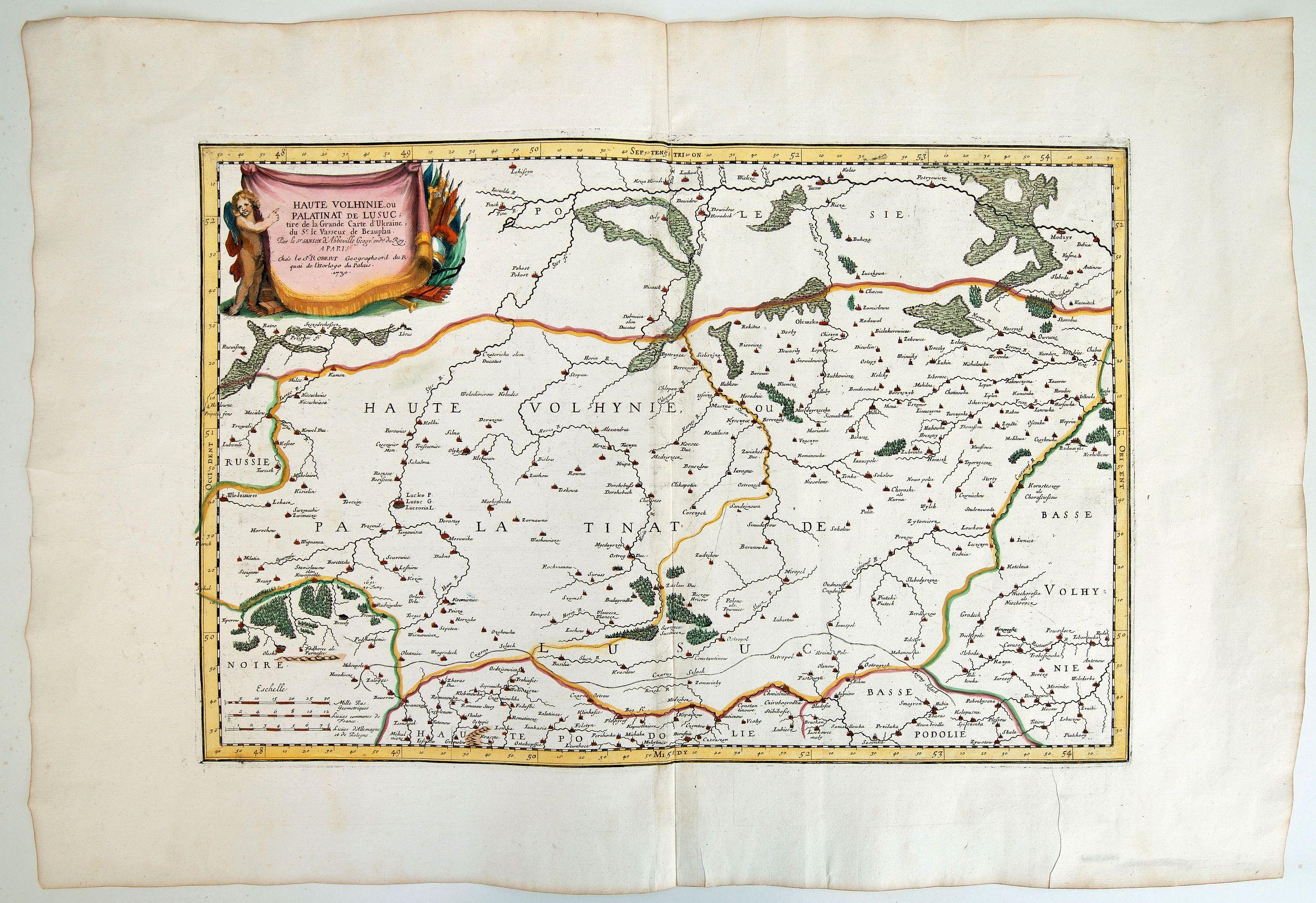 ROBERT (DE VAUGONDY) / BEAUPLAN - HAUTE VOLHYNIE ou PALATINAT DE LUSUC,titre de la grande carte de l Ukraine du S.le Vasseur de Beauplan.