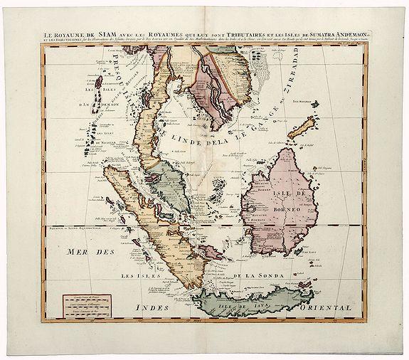CHATELAIN, Henri Abraham. - LE ROYAUME DE SIAM avec les ROYAUMES QUI LUY sont TRIBUTAIRES et les Isles de SUMATRA ANDEMAON.