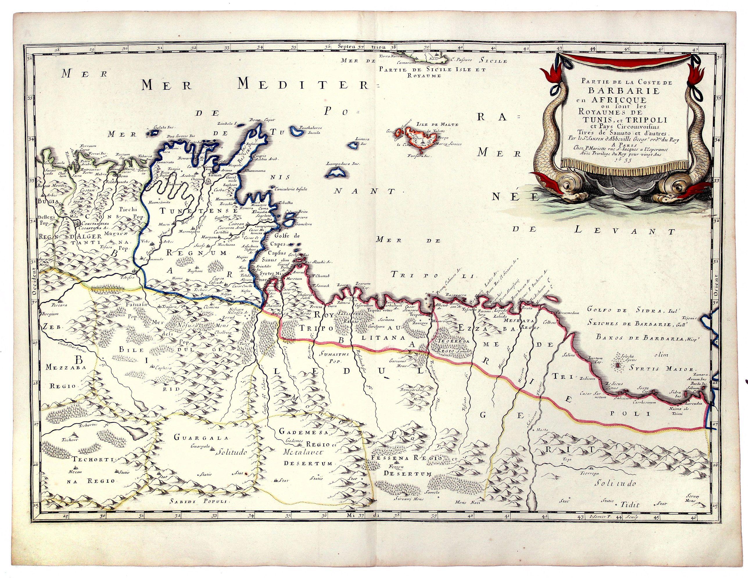 SANSON, Nicolas. - Partie de la Coste de BARBARIE en AFRICQUE ou sont les ROYAUMES de TUNIS, et TRIPOLI et Pays Circonivoissins. ... 1655.