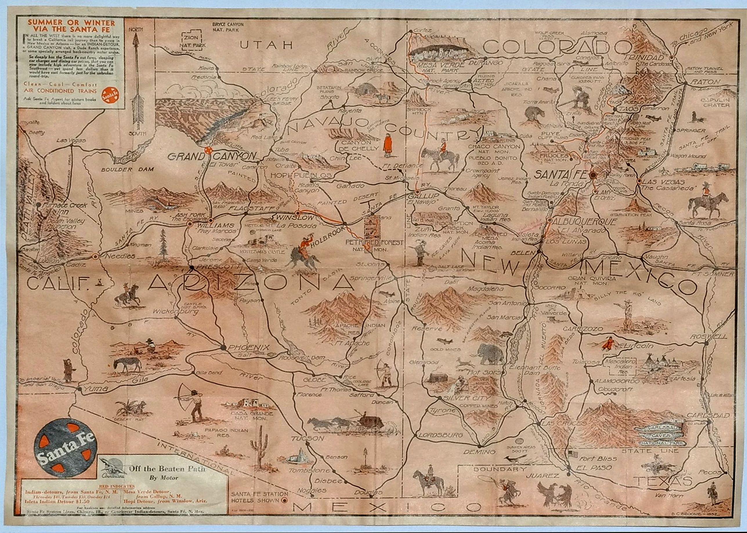 SANTE FE RAILWAY. - Sante Fe Railway Map – (No Title)
