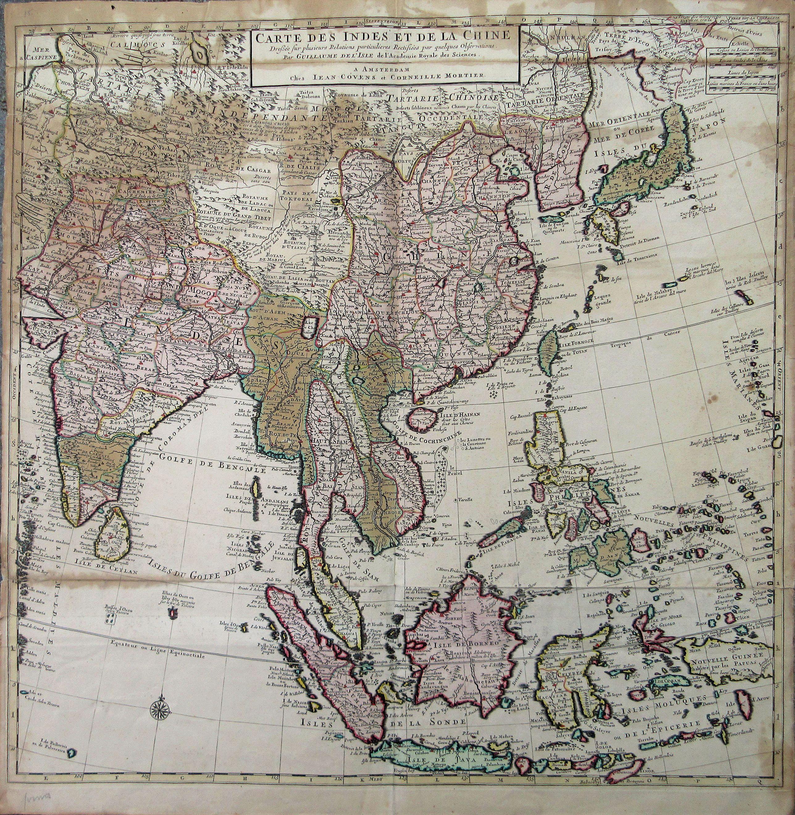COVENS, Jean / Corneille MORTIER. - Carte Des Indes et de la Chine Dressee sur plusieurs Relations particulieres Rectifees par quelques Observations Par Guillaume De L'Isle. . .