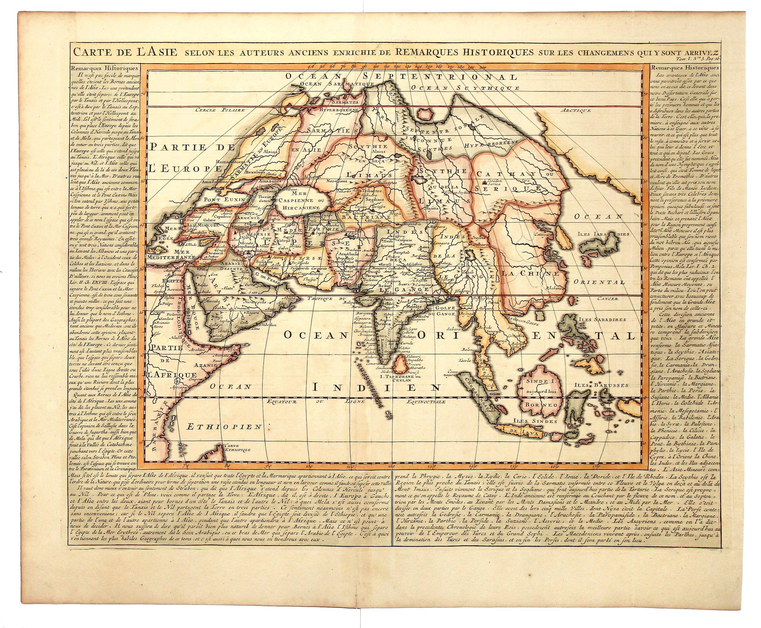 CHATELAIN, H. - CARTE DE L'ASIE, Selon les auteurs anciens enriche de Remarques Historiques sur le Changements qui y sont arrivez.
