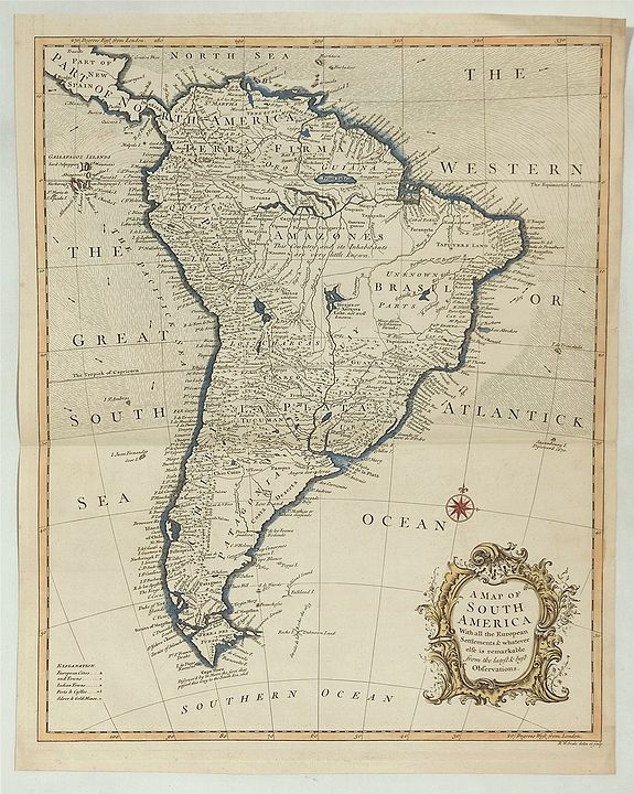 SEALE, R., A Map of South America With All the European Settlements. . ., antique map, old maps