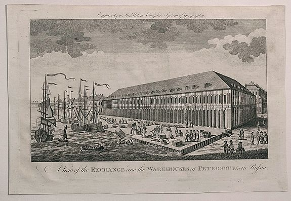 SAYER, R. - A View of the Exchange and the Warehouses at Petersburg in Russia.