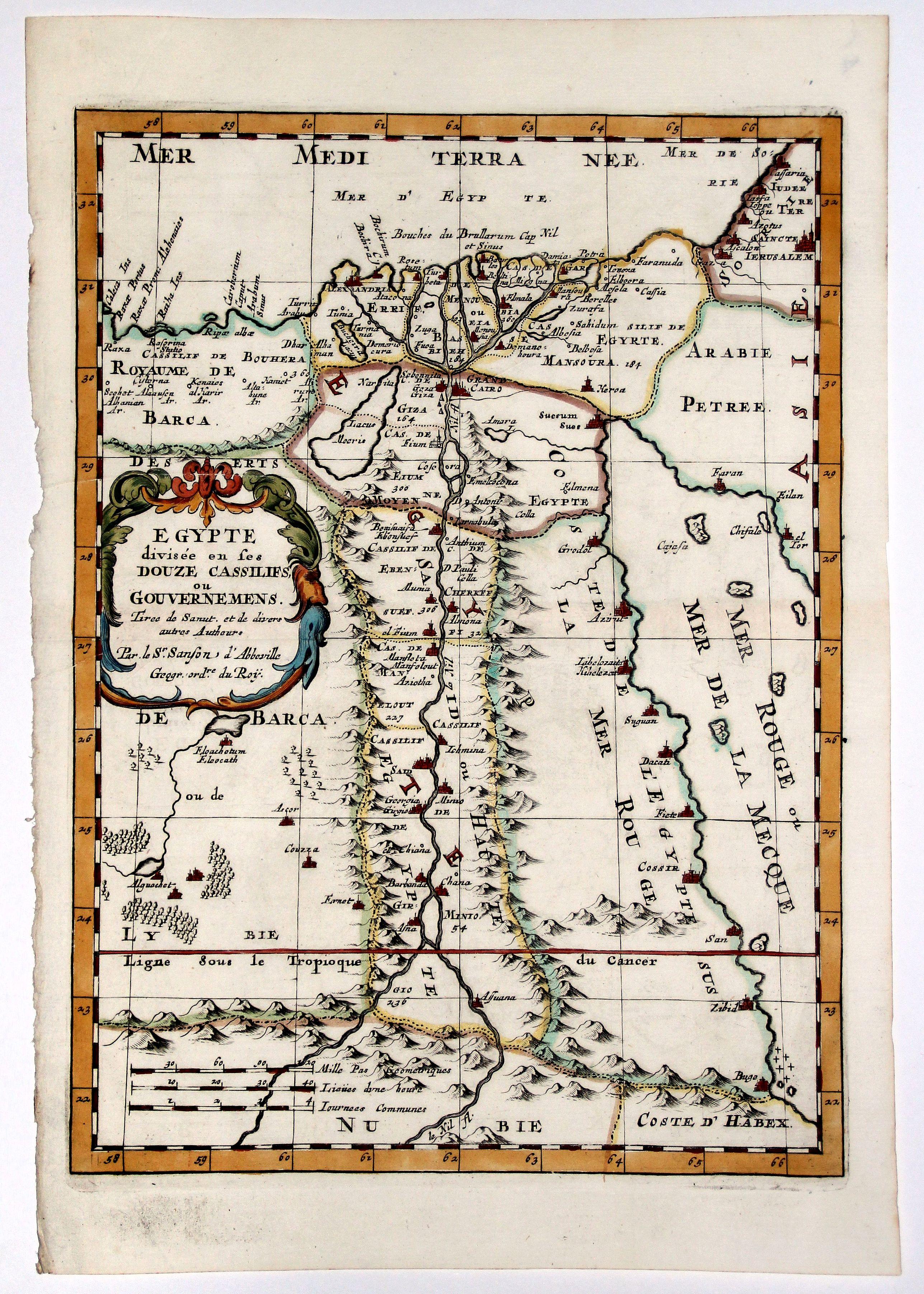 SANSON D'ABBEVILLE, N. - EGYPTE divisee en ses DOUZE CASSILIFS, ou GOUVERNEMENS.
