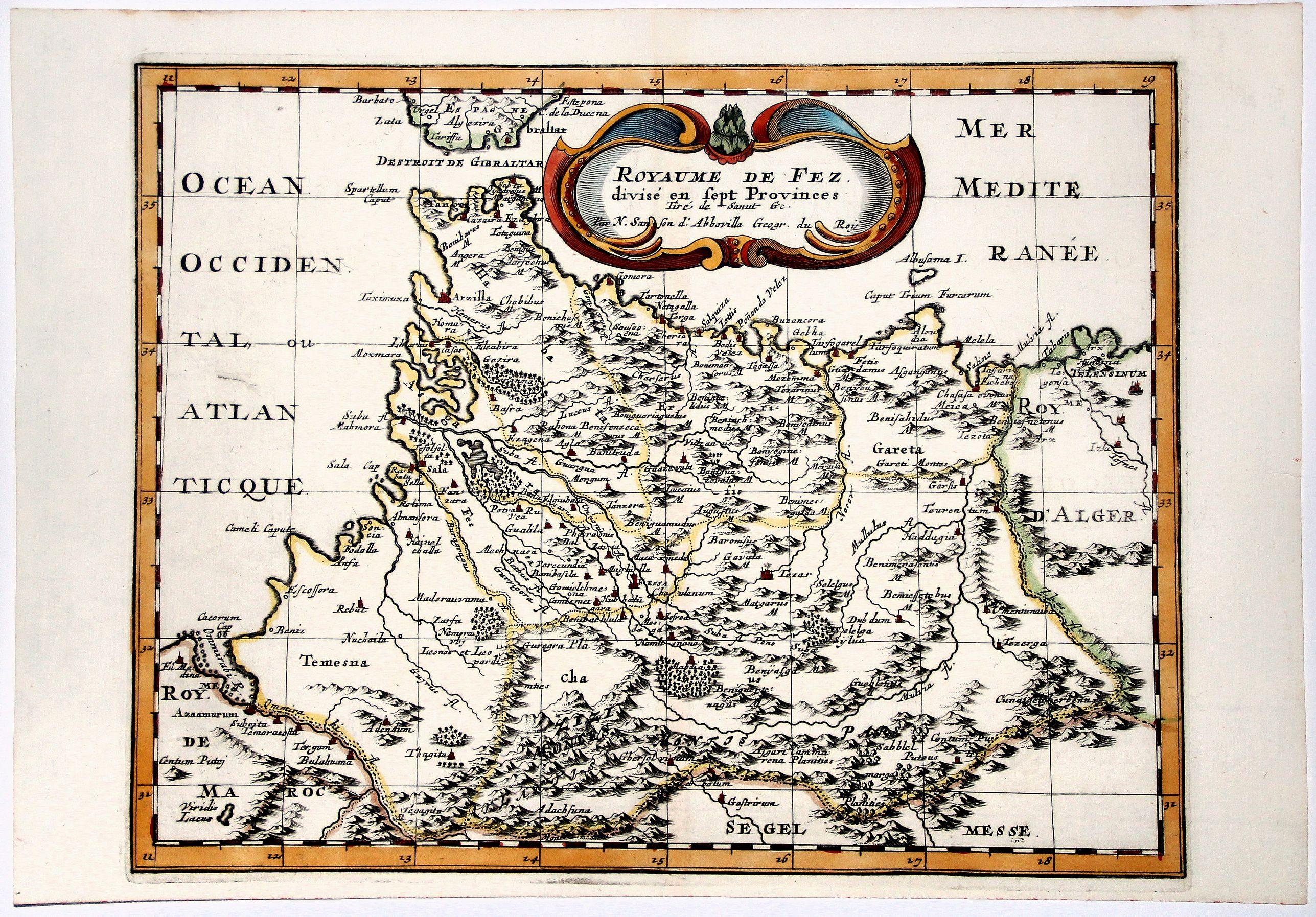 SANSON D'ABBEVILLE, N. - ROYAUME DE FEZ divise en Sept Provinces.
