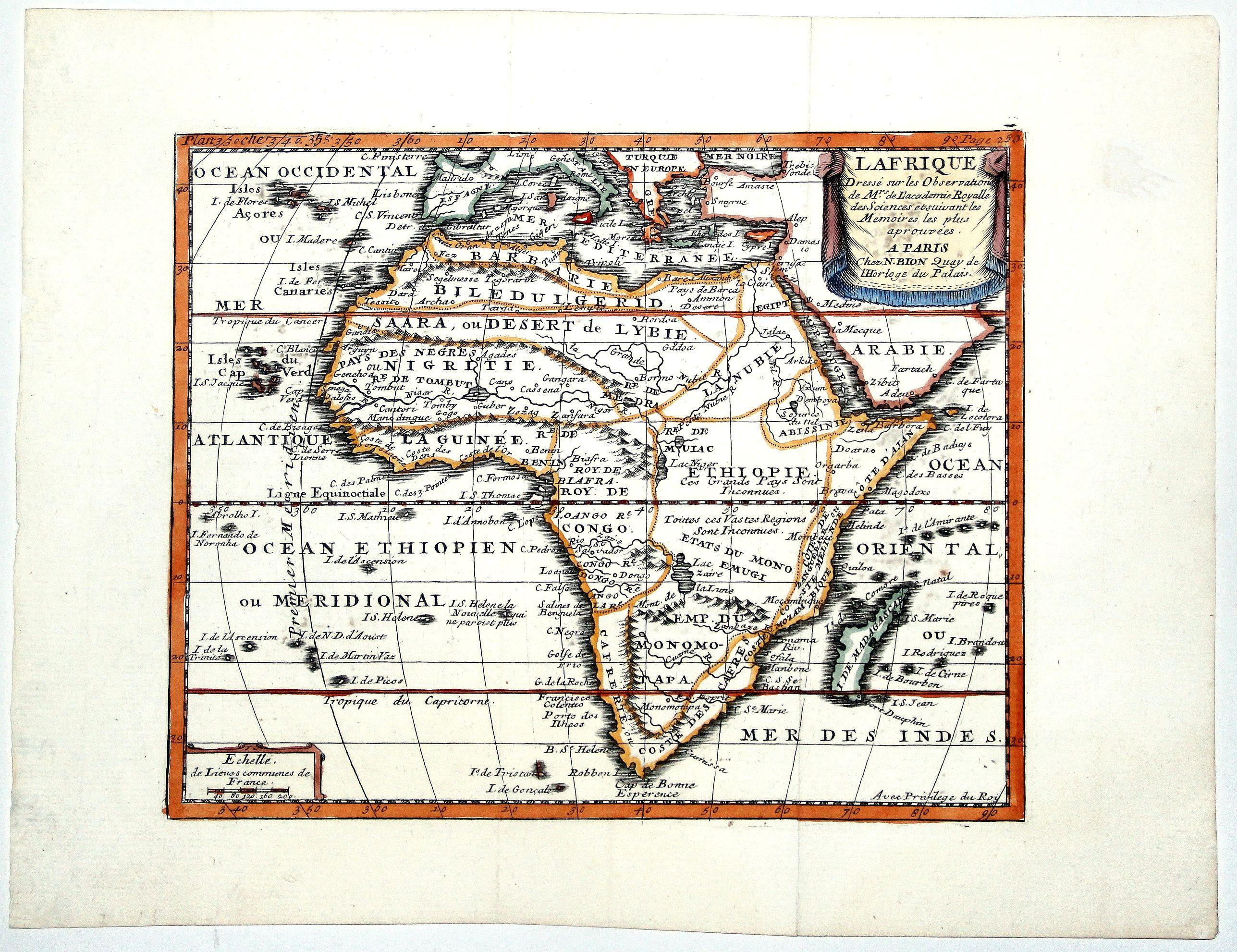 BION, N. - L AFRIQUE Dresse sur les Observations de Mrs de L'academie Royalle des Sciences...