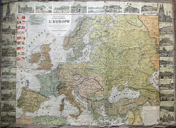 ROPPART, R. - Nouvelle carte politique et commerciale de l'Europe indiquant toutes les communications maritimes, chemins de fer, et les changements des nouvelles limites des Etats d'Orient.