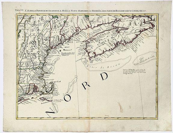 ZATTA, Antonio. - Fogl. VI. L' Acadia Le Provincie di Sagadahook e Main La Nuova Hampshire La Rhode Island e Parte Di Massachusset e Connecticut.