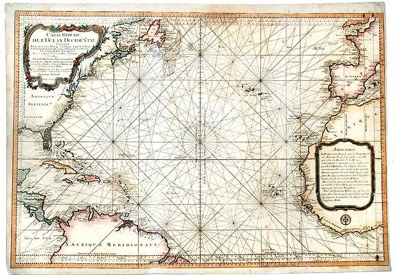 BELLIN, Jacques Nicolas. - Carte Reduite de l' OCEAN OCCIDENTAL Contenant Partie des Costes d' Europe et d' Afrique… M DCCLXVI.