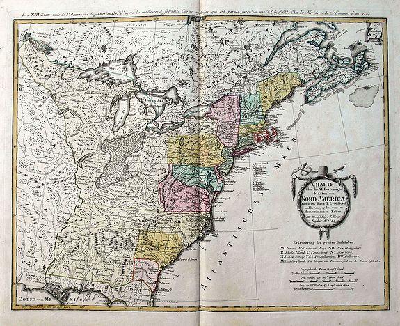 GÜSSEFELD, F. L. - Charte über die XIII. vereinigte Staaten von Nord-America, Entworfen duch F.L. Güssefeld. . .