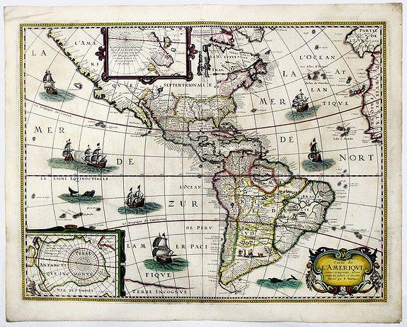 TAVERNIER, M. / BETRIUS, P. - Carte de L'AMERIQUE Corrigee, et augmentee dessus toutes les aultres cy devant faictes par P. Bertius.