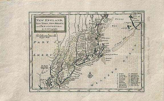 MOLL, Herman. - New England, New York, New Jersey, and Pensilvania &c.