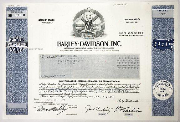 HARLEY-DAVIDSON Inc. -  [Share of famous motorcycle manufacturer Harley Davidson]
