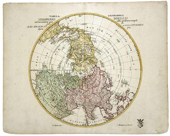EULER, Leonard. - Tabula Geographica. HEMISPHAERII BOREALIS. . . [North-West passage, Bay of the West]