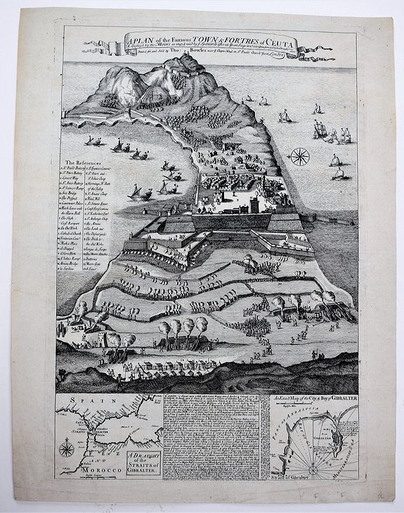 BOWLES, Thomas II, A Plan of the Famous Town & Fortress of Ceuta, Besieg'd by the Moors in 1693 & raid by ye Spaniards after 26 Years Siege in 1720. . ., antique map, old maps