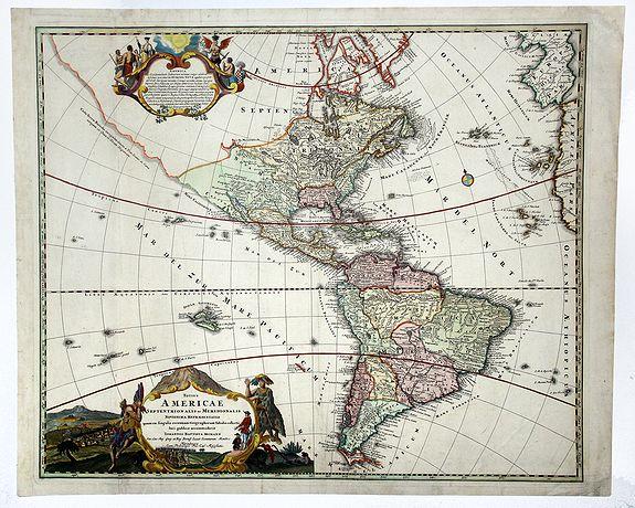 HOMMAN, J. B. - Totius AMERICAE Septentrionalis et Meridionalis novissima represestatio quam ex fingulis. . .
